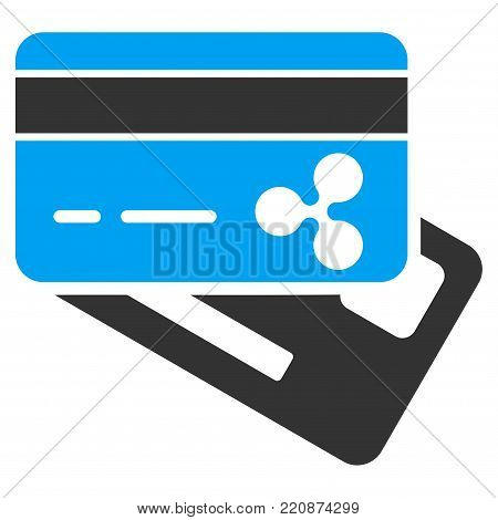 Ripple Banking Cards flat vector icon. An isolated ripple banking cards icon on a white background.