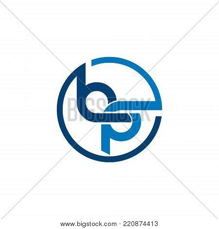 circle letter bp lowercase initial alphabet logo design template