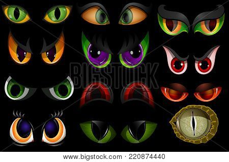Cartoon eyes beast devil monster animals eyeballs of angry or scary expressions evil eyebrow and eyelashes on face scared snake or dracula vampire animal eyesight illustration isolated on black. poster