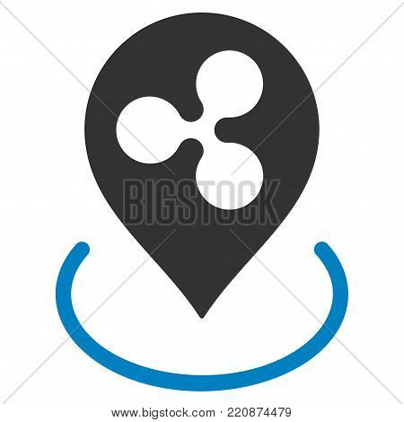 Ripple Location flat vector icon. An isolated ripple location pictograph on a white background.