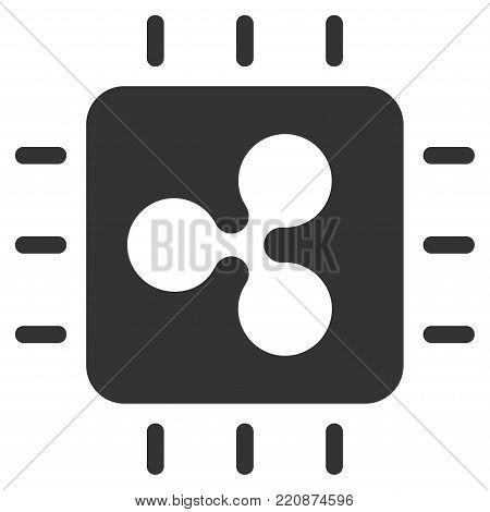 Ripple Processor Chip flat vector icon. An isolated ripple processor chip pictograph on a white background.