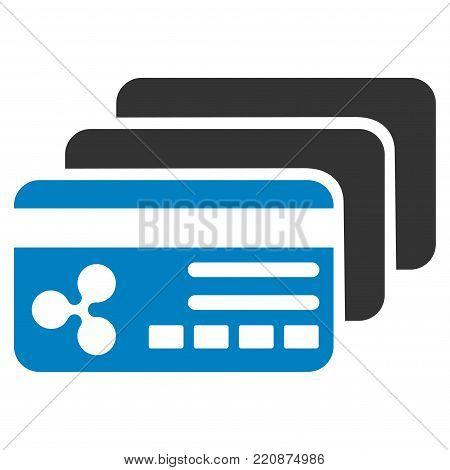 Ripple Banking Cards flat vector icon. An isolated ripple banking cards pictograph on a white background.