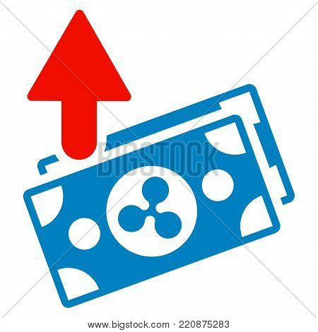 Ripple Expences Banknotes flat vector icon. An isolated ripple expences banknotes design element on a white background.