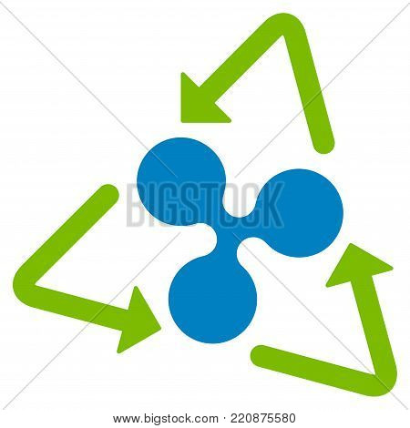 Ripple Recycling flat vector icon. An isolated ripple recycling icon on a white background.