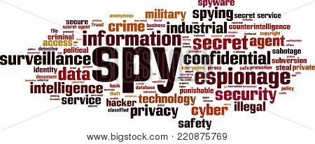 Spy word cloud concept. Vector illustration on white