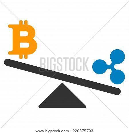 Bitcoin Ripple Swing Balance flat vector icon. An isolated bitcoin ripple swing balance design element on a white background.