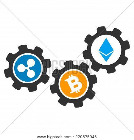 Cryptocurrency Conversion Gears flat vector icon. An isolated cryptocurrency conversion gears pictogram on a white background.