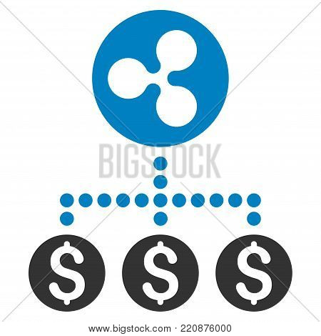 Dollar Ripple Relations flat vector icon. An isolated dollar ripple relations icon on a white background.
