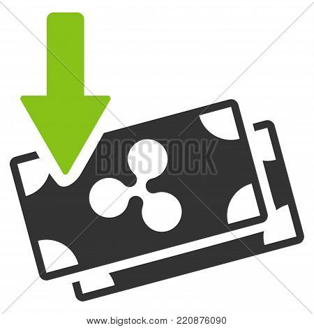 Get Arrow Ripple Banknotes flat vector icon. An isolated get arrow ripple banknotes symbol on a white background.