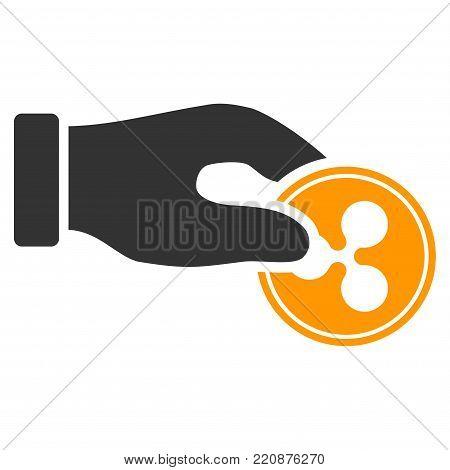 Hand Pay Ripple Coin flat vector icon. An isolated hand pay ripple coin symbol on a white background.