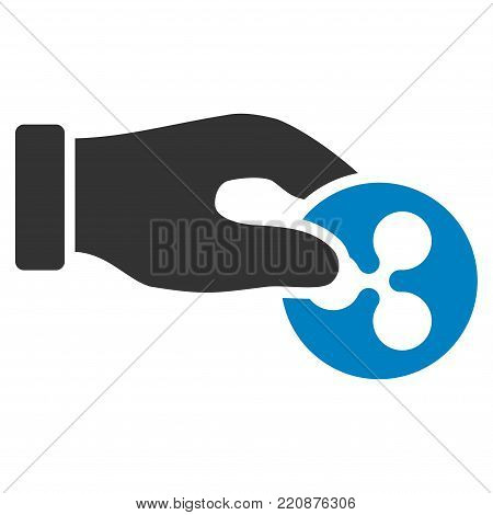 Hand Pay Ripple flat vector icon. An isolated hand pay ripple pictogram on a white background.