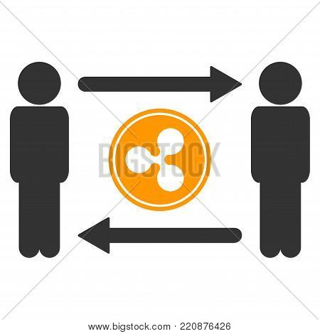 People Exchange Ripple Coin flat vector icon. An isolated people exchange ripple coin icon on a white background.