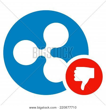 Ripple Coin Thumb Down flat vector icon. An isolated ripple coin thumb down design element on a white background.