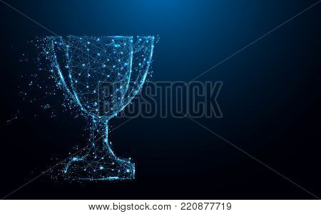 Abstract Trophy cup form lines and triangles, point connecting network on blue background. Illustration vector