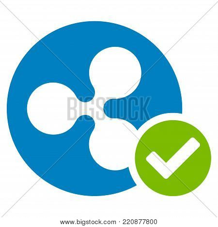 Ripple Coin Valid flat vector icon. An isolated ripple coin valid pictogram on a white background.