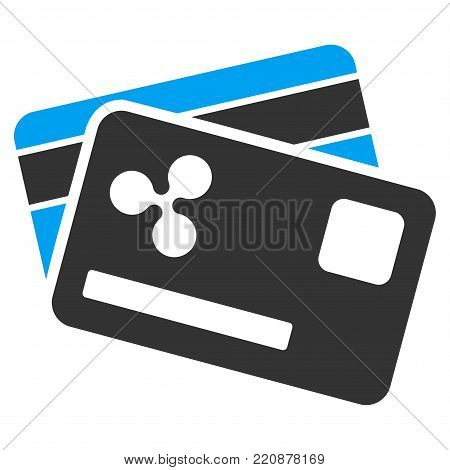 Ripple Credit Cards flat vector icon. An isolated ripple credit cards icon on a white background.