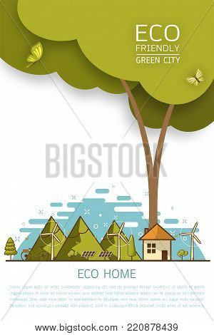 Vector illustration of eco earth with of wind turbine, bike , solar cell ,house, and trees. Background for save earth day. Environmental, ecology, nature protection and pollution concept.