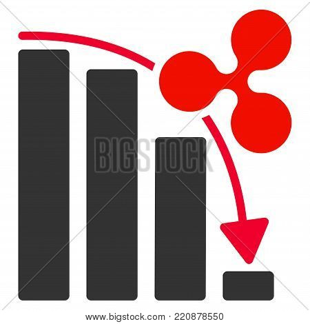 Ripple Fail Down Chart flat vector icon. An isolated ripple fail down chart pictograph on a white background.