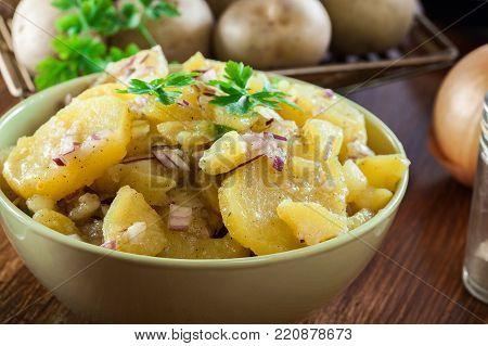 Kartoffelsalat - traditional German potato salad. Food and drink