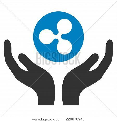 Ripple Maintenance Hands flat vector icon. An isolated ripple maintenance hands design element on a white background.