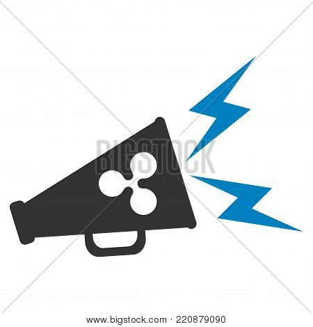Ripple Megaphone Alert flat vector icon. An isolated ripple megaphone alert design element on a white background.