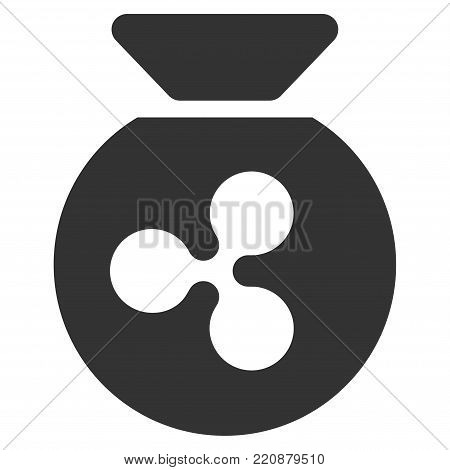 Ripple Money Bag flat vector icon. An isolated ripple money bag design element on a white background.