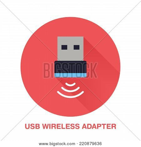 Wireless usb adapter flat style icon. Wifi technology device sign. Vector illustration of communication equipment for electronics store.