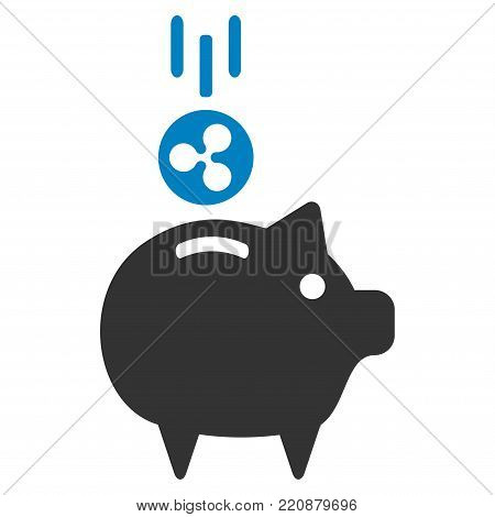 Ripple Piggy Bank flat vector icon. An isolated ripple piggy bank illustration on a white background.