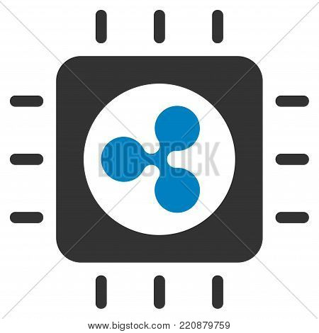 Ripple Processor Chip flat vector icon. An isolated ripple processor chip icon on a white background.