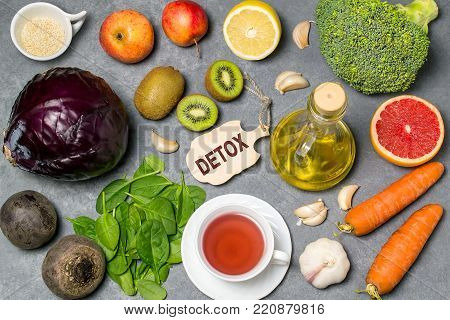 poster of Food for detoxification. Detox food purify body of toxins, have beneficial health effects. Concept of purification. Small cutting board with word detox. Top view