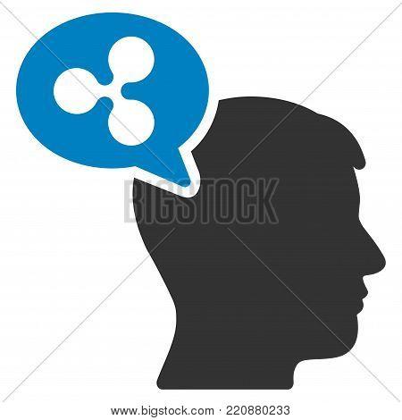 Ripple Thinking Balloon flat vector icon. An isolated ripple thinking balloon design element on a white background.