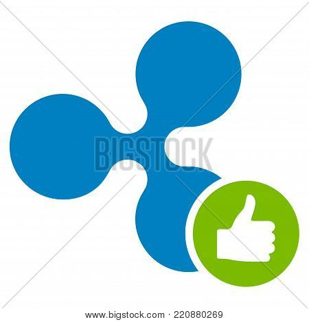 Ripple Thumb Up flat vector icon. An isolated ripple thumb up pictogram on a white background.