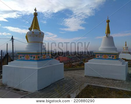 A sorrounding of Datsan Rinpoche Bagsha buddhist monastery on the top of Lysaja Gora hill in Ulan-Ude, Russia