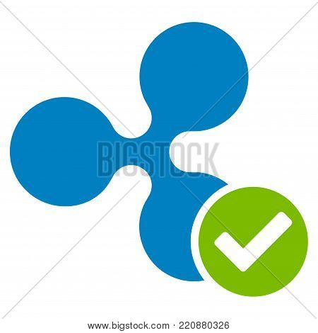 Ripple Valid flat vector icon. An isolated ripple valid pictogram on a white background.