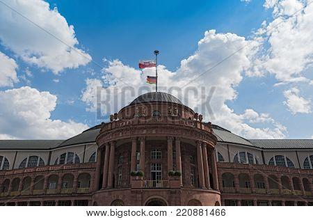 FRANKFURT, GERMANY-JULY 03, 2017: Festhalle Frankfurt,multi-purpose hall at the trade fair grounds of Frankfurt, Germany
