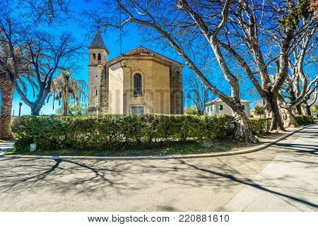Scenic view at old church cathedral in Solin town, tourist resort in Dalmatia, suburb of Split town.
