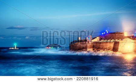 Valletta, Malta skyline of Fort Saint Elmo, Forti Sant Lermu at night