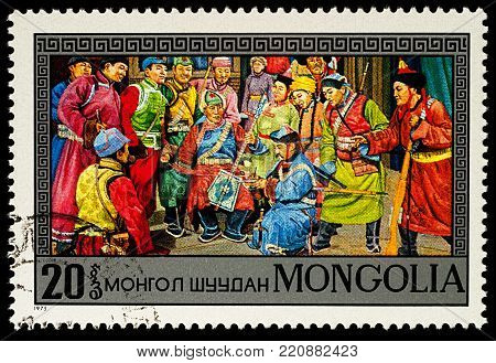 Moscow, Russia - January 06, 2018: A stamp printed in Mongolia, shows Scene from Mongolian Opera