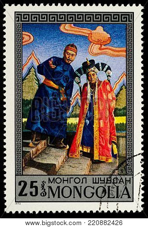 Moscow, Russia - January 06, 2018: A stamp printed in Mongolia, shows Scene from Mongolian Opera Edre, by D. Namdag, series