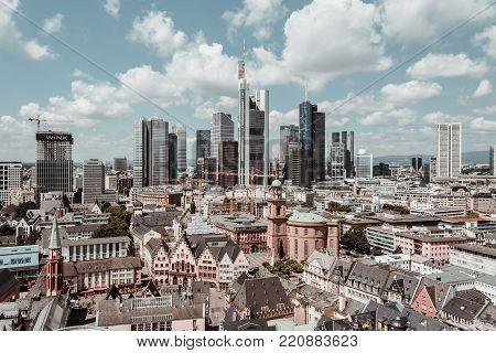 Frankfurt, Germany - July 03, 2017: Frankfurt European Financial Capital Skyline.