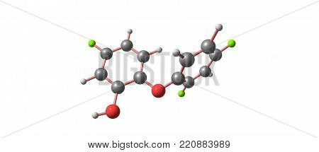 Triclosan Acid Molecular Structure Isolated On White