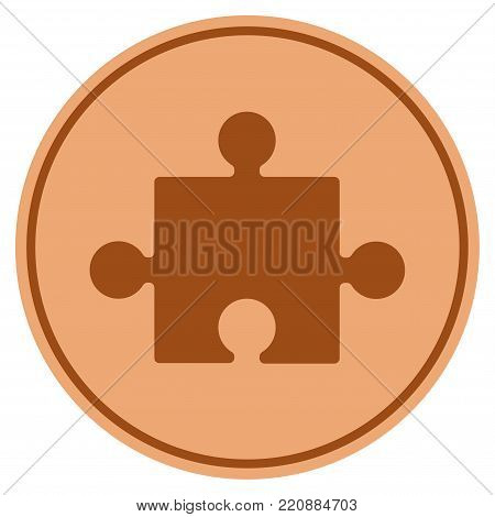 Component bronze coin icon. Vector style is a copper flat coin symbol.