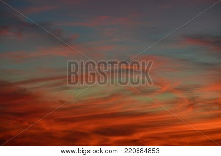 background of sunset, southern Bohemia, Czech Republic