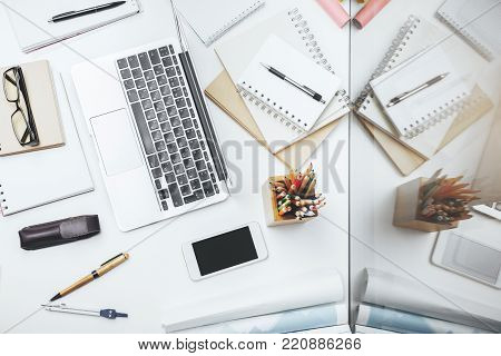 Contemporary White Table With Clean Phone