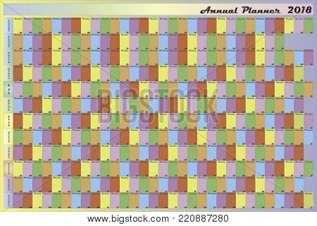 Annual planner 2018 specific color for each day of the week black letters with white contour