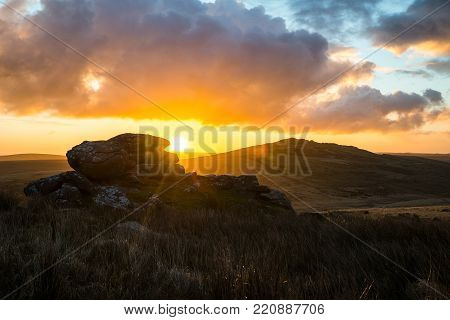 Sunrise At Brown Willy Tor With Showery Tor In Foreground