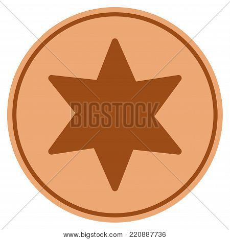 6 Corners Star bronze coin icon. Vector style is a copper flat coin symbol.