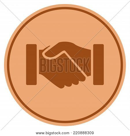 Acquisition Handshake bronze coin icon. Vector style is a copper flat coin symbol.
