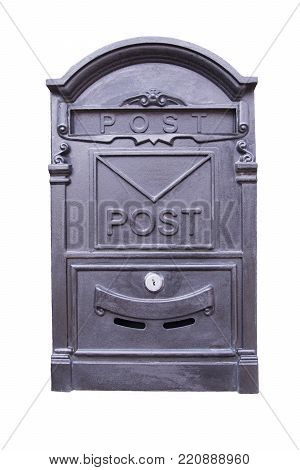 Creative mailbox made of alloy and the colour of the metal cut out on a white background.