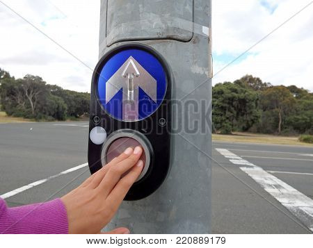 child pressing  button to cross the road